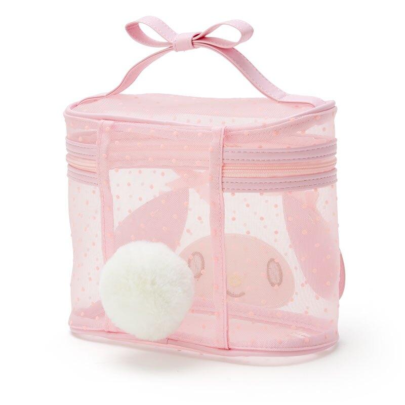 小禮堂 美樂蒂 造型網紗手提化妝包 透明化妝包 盥洗包 化妝箱 (粉 大臉)