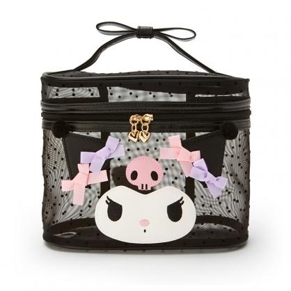 小禮堂 酷洛米 造型網紗手提化妝包 透明化妝包 盥洗包 化妝箱 (黑 大臉)