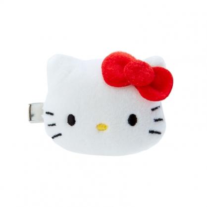 小禮堂 Hello Kitty 造型絨毛鐵髮夾 小髮夾 瀏海夾 造型髮夾 (紅白 大臉)