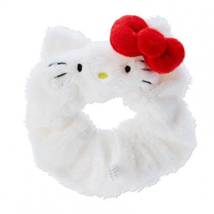 小禮堂 Hello Kitty 造型絨毛彈力髮圈 絨毛大腸圈 造型髮束 (紅白 大臉)