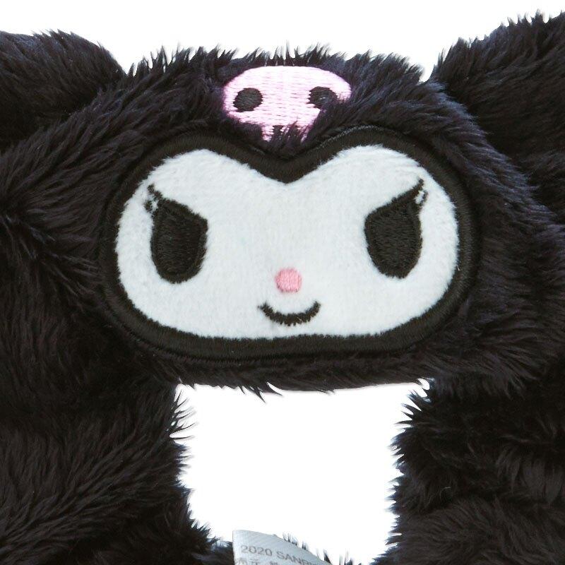 小禮堂 酷洛米 造型絨毛彈力髮圈 絨毛大腸圈 造型髮束 (黑 大臉)