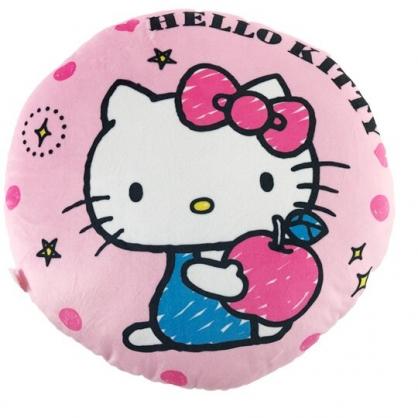 小禮堂 Hello Kitty 圓形絨毛抱枕 絨毛靠枕 午睡枕 圓枕頭 (粉藍 蘋果)