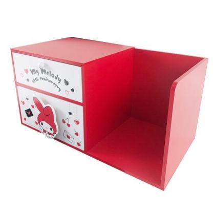 小禮堂 美樂蒂 橫式木質雙抽書架收納櫃 抽屜櫃 小木櫃 桌上型收納櫃 (紅白 信封)