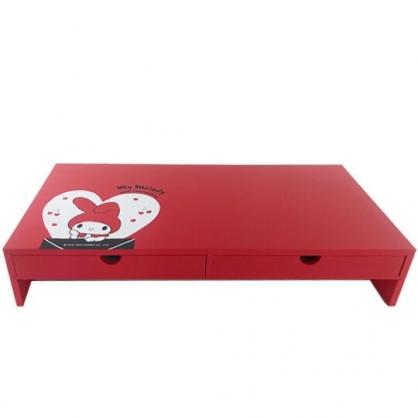 小禮堂 美樂蒂 橫式木質雙抽螢幕架 抽屜架 鍵盤架 電腦架 (紅白 信封)