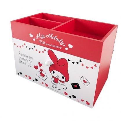 小禮堂 美樂蒂 橫式木質三格單抽收納櫃 抽屜櫃 小木櫃 桌上型收納櫃 (紅白 信封)
