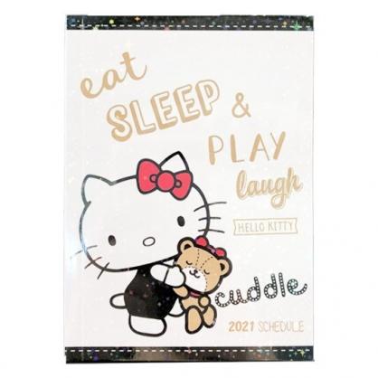 小禮堂 Hello Kitty 2021 迷你行事曆 手帳 年曆 記事本 (白黑 小熊)