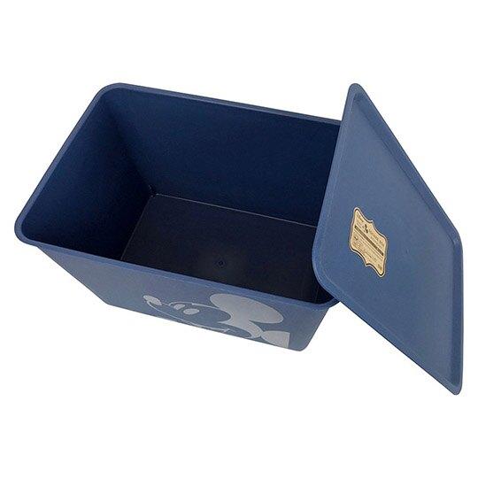 小禮堂 迪士尼 米奇 日製 方形塑膠拿蓋收納箱 玩具箱 衣物箱 17L (L 深藍 大臉)