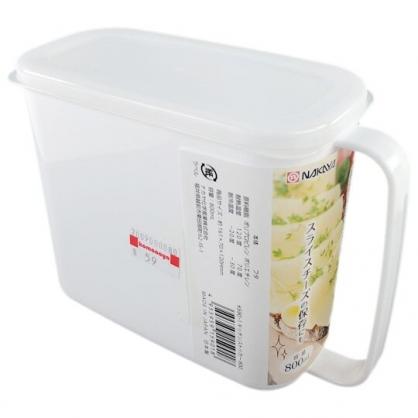 小禮堂  NAKAYA 日製 單耳方形塑膠調味盒 調味罐 香料盒 保鮮盒 800ml (白)