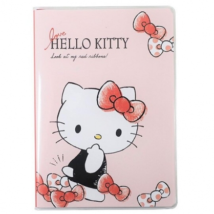 小禮堂 Hello Kitty 日製 2021 B6行事曆 手帳 年曆 記事本 (粉黑 蝴蝶結)