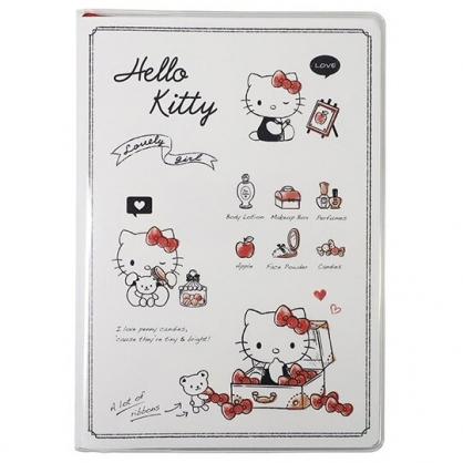 小禮堂 Hello Kitty 日製 2021 B6行事曆 手帳 年曆 記事本 (米黑 蝴蝶結)