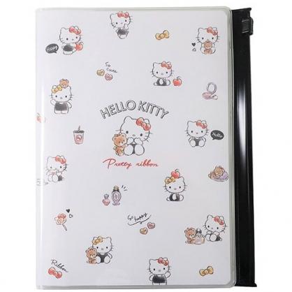 小禮堂 Hello Kitty 日製 2021 B6行事曆 手帳 年曆 記事本 附夾鏈袋 (白黑 滿版)