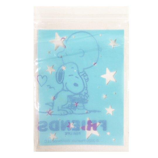 小禮堂 史努比 方形透明夾鏈袋 透明分裝袋 密封袋 餅乾袋 (M 15入 藍)