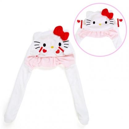小禮堂 Hello Kitty 造型耳朵動動玩偶帽 絨毛玩偶帽 兔耳帽 (紅白 應援啦啦隊)