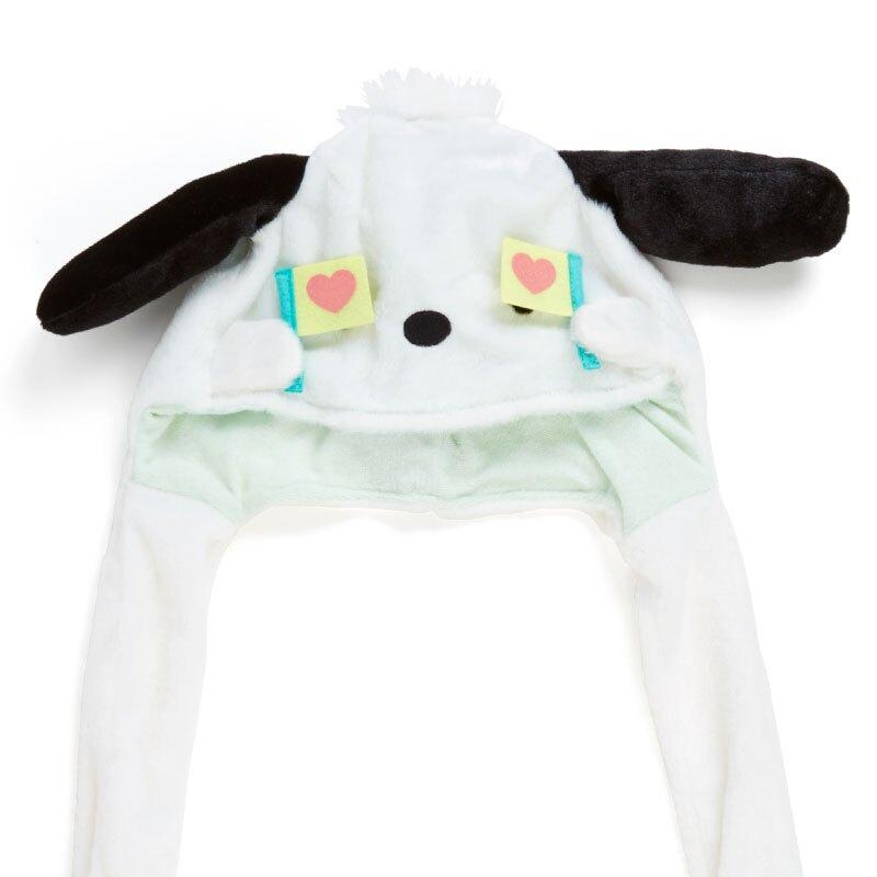 小禮堂 帕恰狗 造型耳朵動動玩偶帽 絨毛玩偶帽 兔耳帽 (白綠 應援啦啦隊)