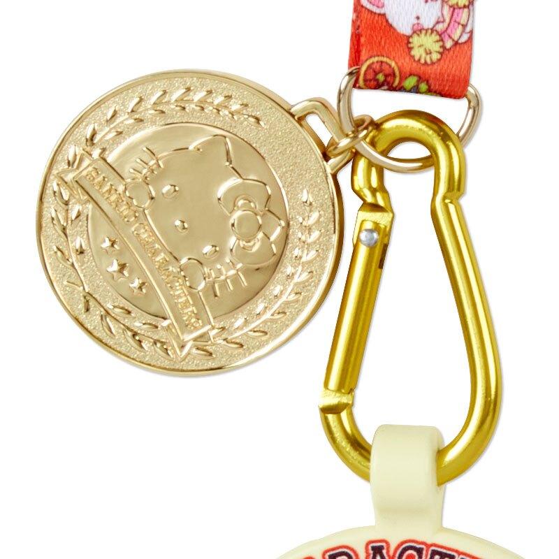 小禮堂 Sanrio大集合 尼龍織帶寶特瓶扣 水壺掛繩 水壺背帶 水瓶扣 500ml  (紅金 應援啦啦隊)