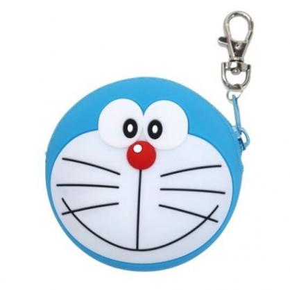 小禮堂 哆啦A夢 圓形矽膠零錢包 掛飾零錢包 小物包 耳機包 (藍 大臉)