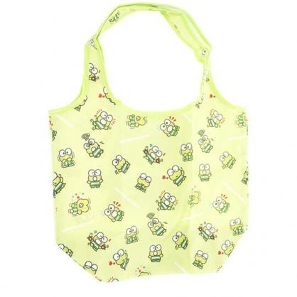 小禮堂 大眼蛙 折疊尼龍環保購物袋 環保袋 側背袋 (綠 格圖)