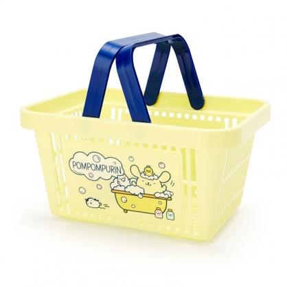 小禮堂 布丁狗 塑膠手提置物籃 購物提籃 浴室收納籃 瓶罐架 (黃藍 牛奶泡泡浴)