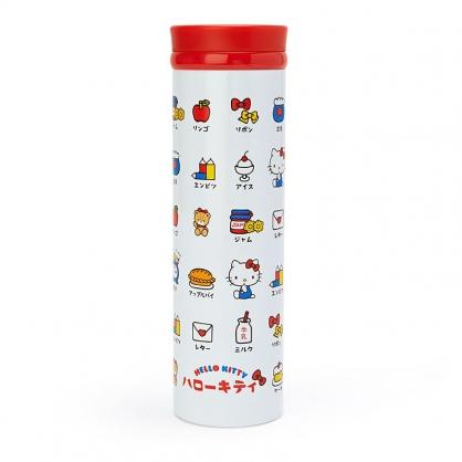 小禮堂 Hello Kitty 旋轉蓋不鏽鋼保溫瓶 兒童水壺 隨身瓶 460ml (紅白 漢語字典)