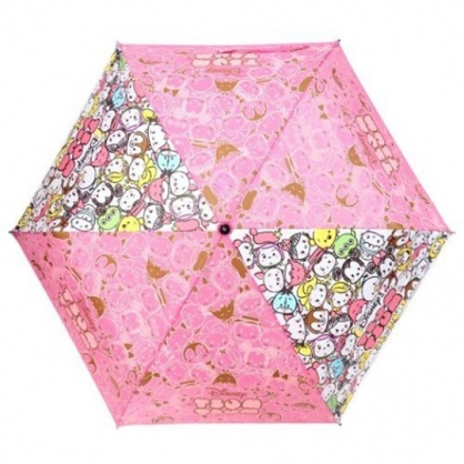 小禮堂 迪士尼TsumTsum 彎把防風傘骨折疊傘 防風折傘 折傘 雨傘 (粉 大臉)
