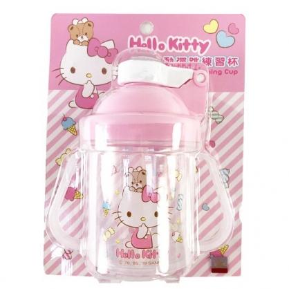 小禮堂 Hello Kitty 幼兒彈蓋雙耳學習杯 塑膠學習杯 兒童水壺 (粉 斜紋)