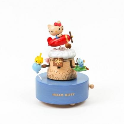 小禮堂 Hello Kitty 造型木質音樂鈴 復古音樂鈴 旋轉音樂鈴 (紅藍 飛機)