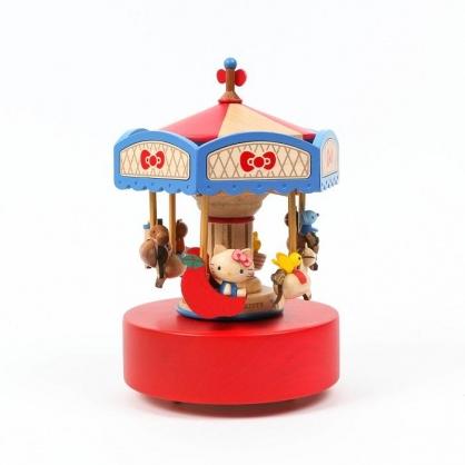 小禮堂 Hello Kitty 造型木質音樂鈴 復古音樂鈴 旋轉音樂鈴 (紅棕 旋轉木馬)