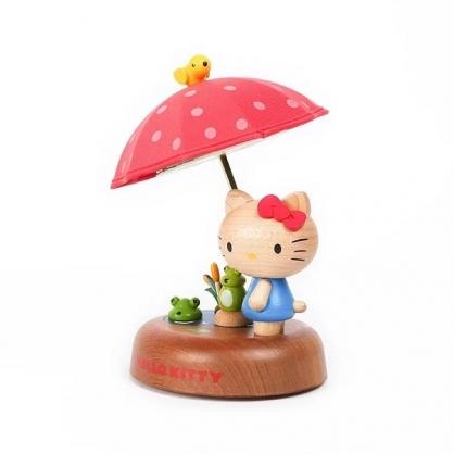 小禮堂 Hello Kitty 造型木質觸控夜燈 床頭燈 小夜燈 擺飾燈 (紅棕 雨傘)
