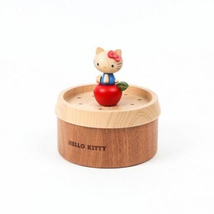 小禮堂 Hello Kitty 造型拿蓋木質收納盒 圓形收納盒 飾品盒 小物盒 (棕紅 蘋果)
