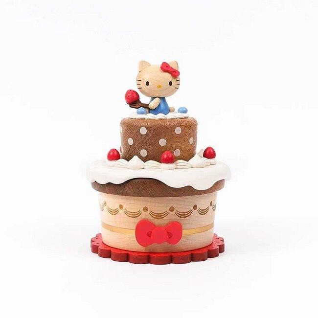 小禮堂 Hello Kitty 造型木質音樂鈴 復古音樂鈴 旋轉音樂鈴 (棕紅 蛋糕)