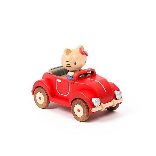 小禮堂 Hello Kitty 造型木質音樂鈴 復古音樂鈴 造型音樂鈴 (棕紅 汽車)