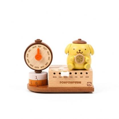 小禮堂 布丁狗 造型木質音樂萬年曆 音樂桌曆 行事曆 月曆 日曆 (黃棕 磅秤)