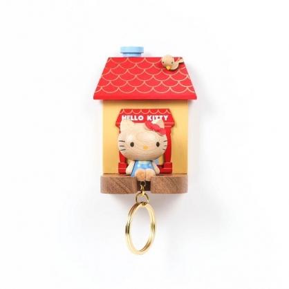 小禮堂 Hello Kitty 造型木質鑰匙架 鑰匙掛勾 鑰匙盒 木掛勾 (紅棕 房屋)