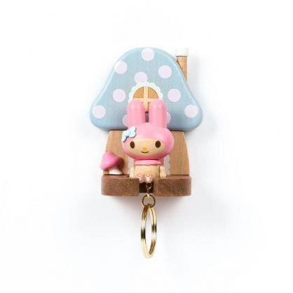 小禮堂 美樂蒂 造型木質鑰匙架 鑰匙掛勾 鑰匙盒 木掛勾 (棕藍 香菇)