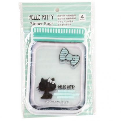 小禮堂 Hello Kitty 罐子造型透明夾鏈袋 透明分裝袋 密封袋 餅乾袋 (4入 綠 影子)