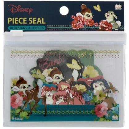 小禮堂 迪士尼 小鹿斑比 日製 造型貼紙組 附收納包 裝飾貼紙 手帳貼紙 (藍棕 花朵)