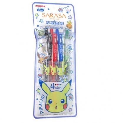 小禮堂 神奇寶貝 日製 原子筆組 水性筆 自動筆 0.5mm SARASA (4入 大臉)