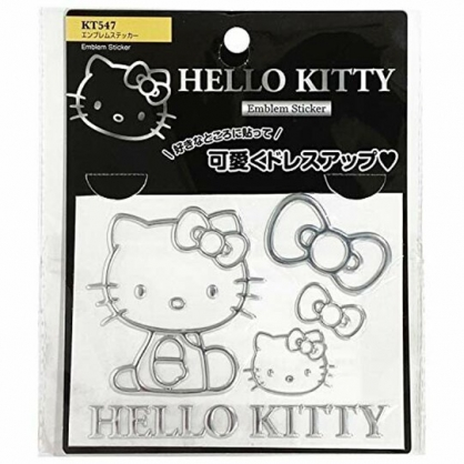 小禮堂 Hello Kitty 造型汽車裝飾貼 金屬車貼 反光貼紙 壁貼 (銀 側坐)