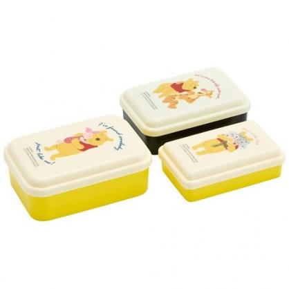 小禮堂 迪士尼 小熊維尼 日製 方形塑膠保鮮盒組 塑膠便當盒 微波便當盒 (3入 黃 抱抱)
