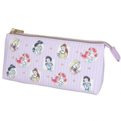 小禮堂 迪士尼 公主 三角皮質雙層拉鍊筆袋 皮質筆袋 鉛筆盒 鉛筆袋 (紫 直紋)