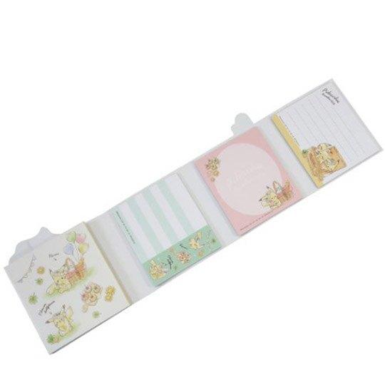 小禮堂 神奇寶貝 日製 方形多折便條本 便條紙 備忘錄 (綠黃 野餐)