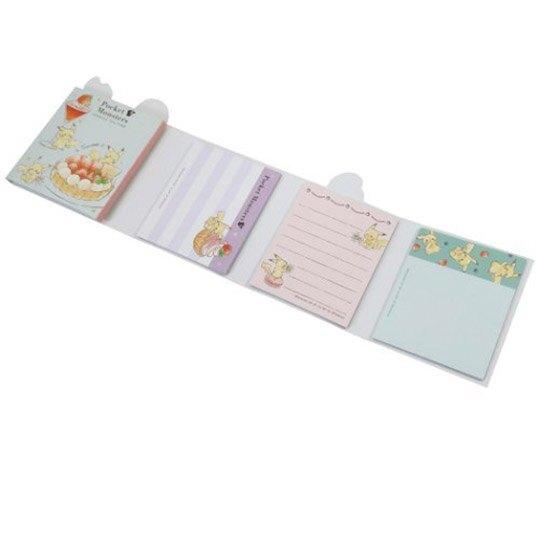 小禮堂 神奇寶貝 日製 方形多折便條本 便條紙 備忘錄 (粉黃 甜點)