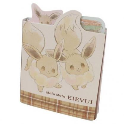 小禮堂 神奇寶貝 伊布 日製 方形多折便條本 便條紙 備忘錄 (棕 兩隻)