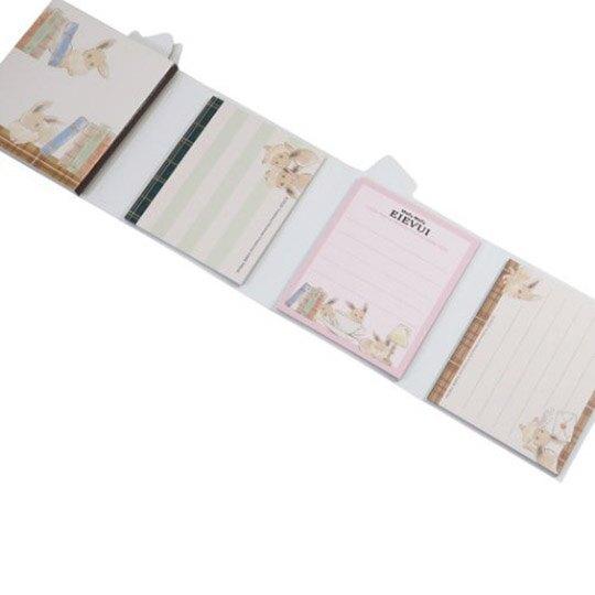 小禮堂 神奇寶貝 伊布 日製 方形多折便條本 便條紙 備忘錄 (棕白 信封)