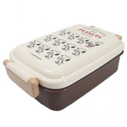 小禮堂 史努比 日製 方形雙扣微波便當盒 塑膠便當盒 保鮮盒 450ml (米棕 排站)