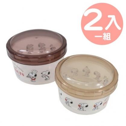 小禮堂 史努比 日製 圓形塑膠保鮮盒 透明保鮮盒 微波便當盒 (2入 棕 廚師)