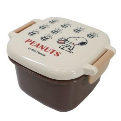 小禮堂 史努比 日製 迷你雙扣方形保鮮盒 塑膠保鮮盒 迷你便當盒 160ml (米棕 杯子)