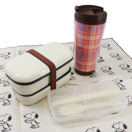 小禮堂 史努比 日製 純棉便當包巾 餐巾 手帕 桌巾 桌墊 43x43cm (米棕 排站)