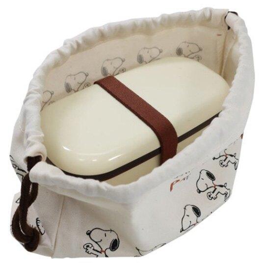 小禮堂 史努比 日製 棉質束口便當袋 束口手提袋 小物袋 縮口袋 (米棕 排站)