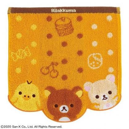 小禮堂 懶懶熊 造型純棉無捻紗方巾 手帕 小毛巾 26x26cm (黃棕 大臉)